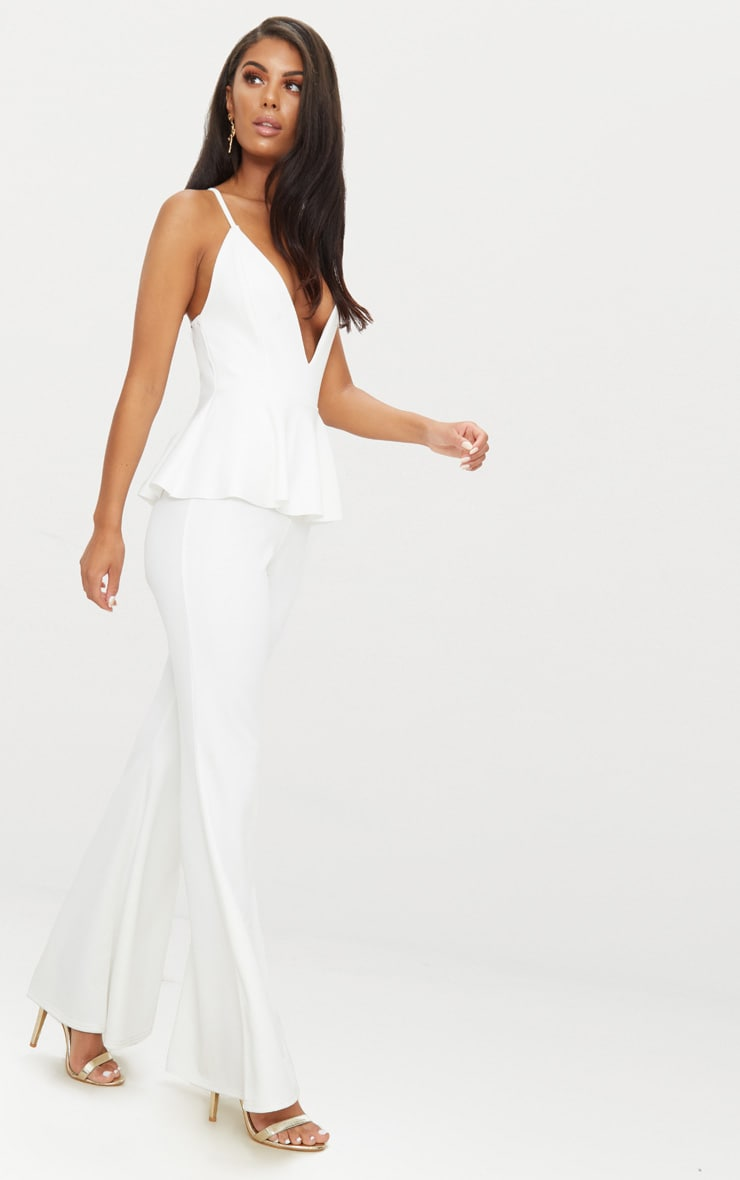 White Strappy Peplum Jumpsuit 3