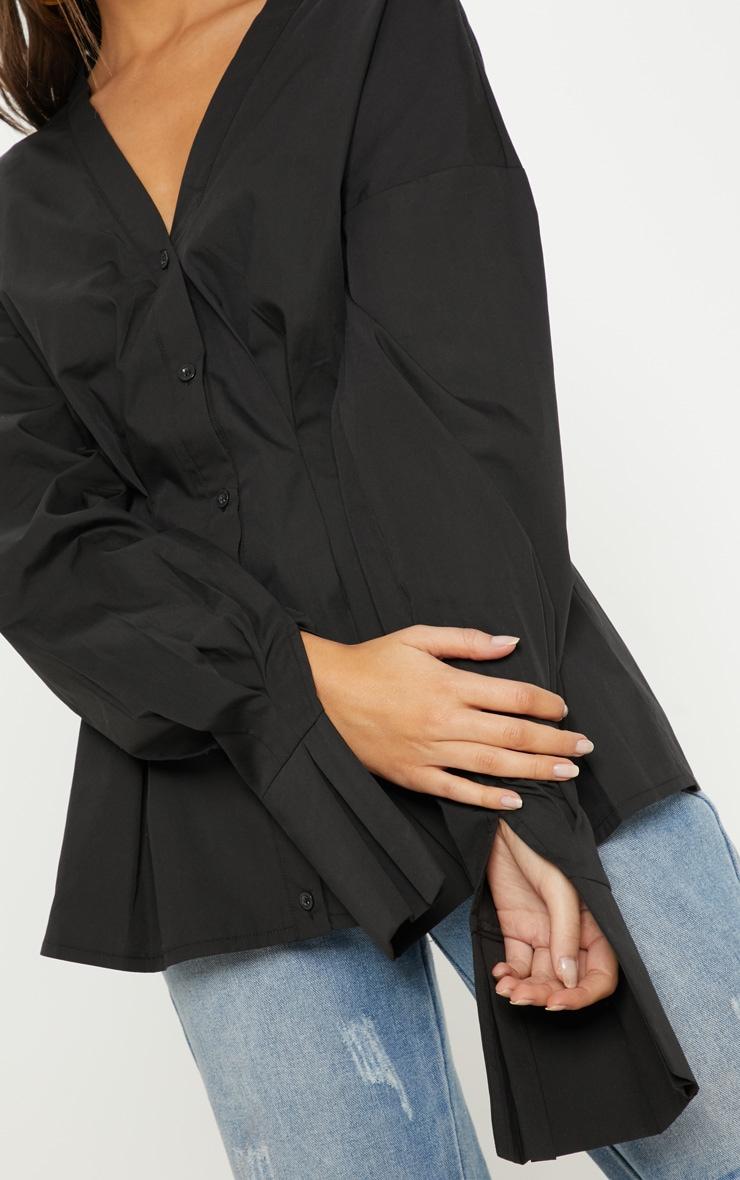 Black Ruched Waist Oversized Shirt 5