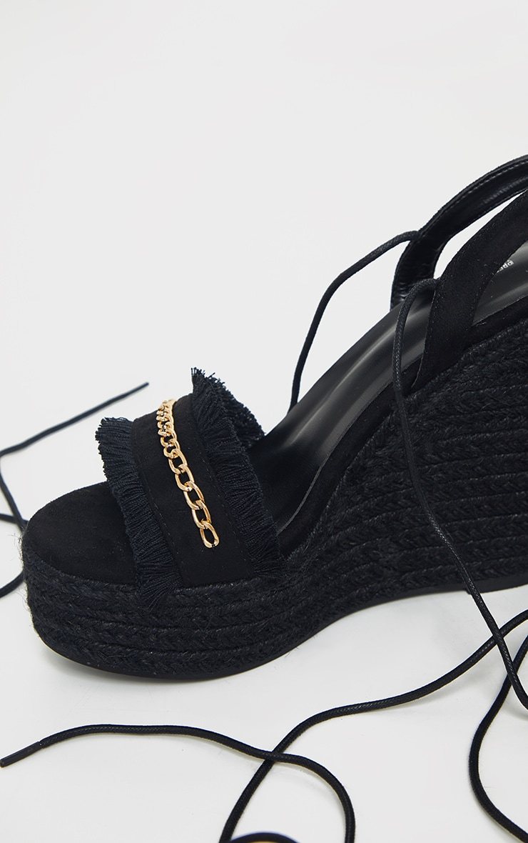 Black Fringe And Chain Detail Wedge 4