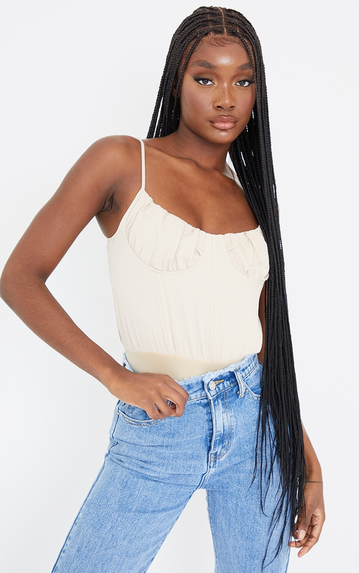 Tall Stone Corset Detail Woven Ruched Cup Bodysuit 1
