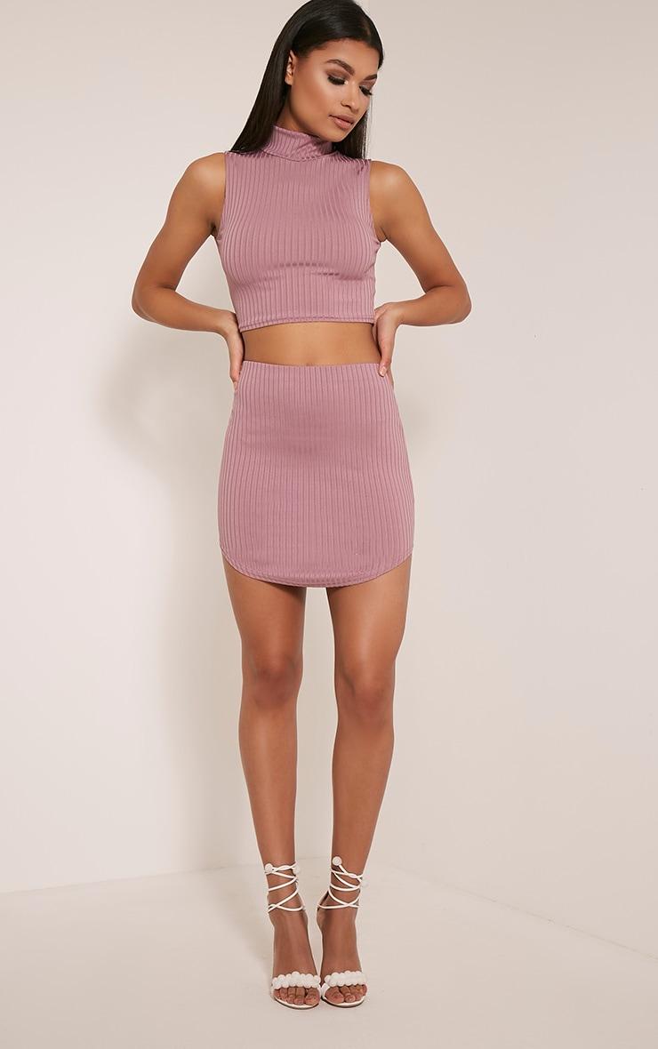 Ariana Mauve Ribbed Curve Hem Mini Skirt 6