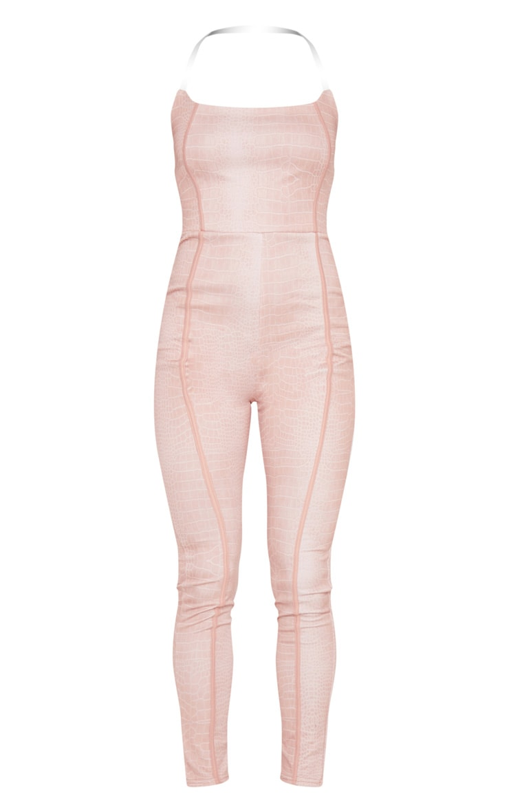 Nude Snake Print Clear Strap Binding Detail Jumpsuit 5