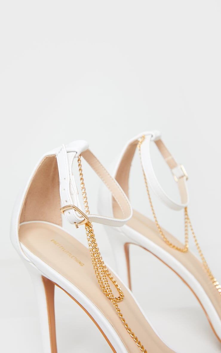 White Square Front Chain Detail High Heels 4