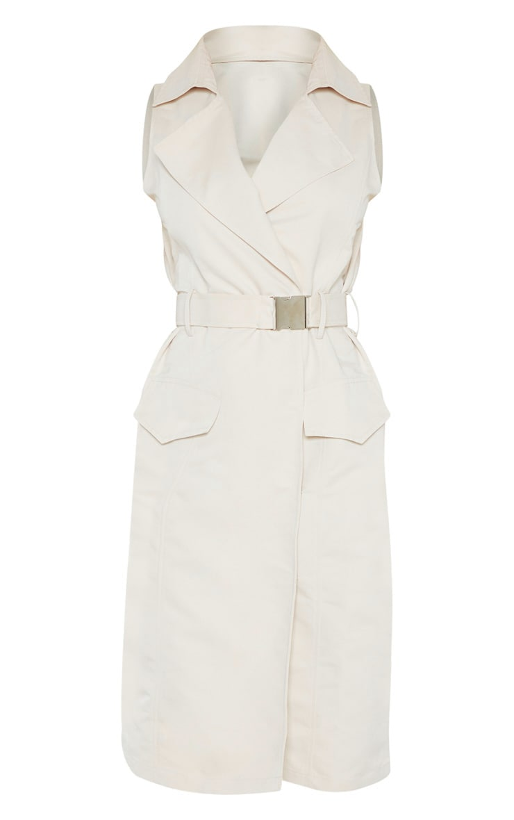 Stone Buckle Trench Style Midaxi Dress 3