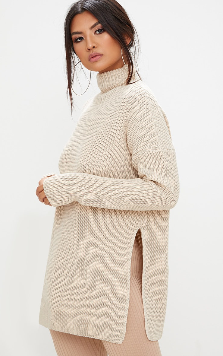 Stone High Neck Knitted Side Split Jumper