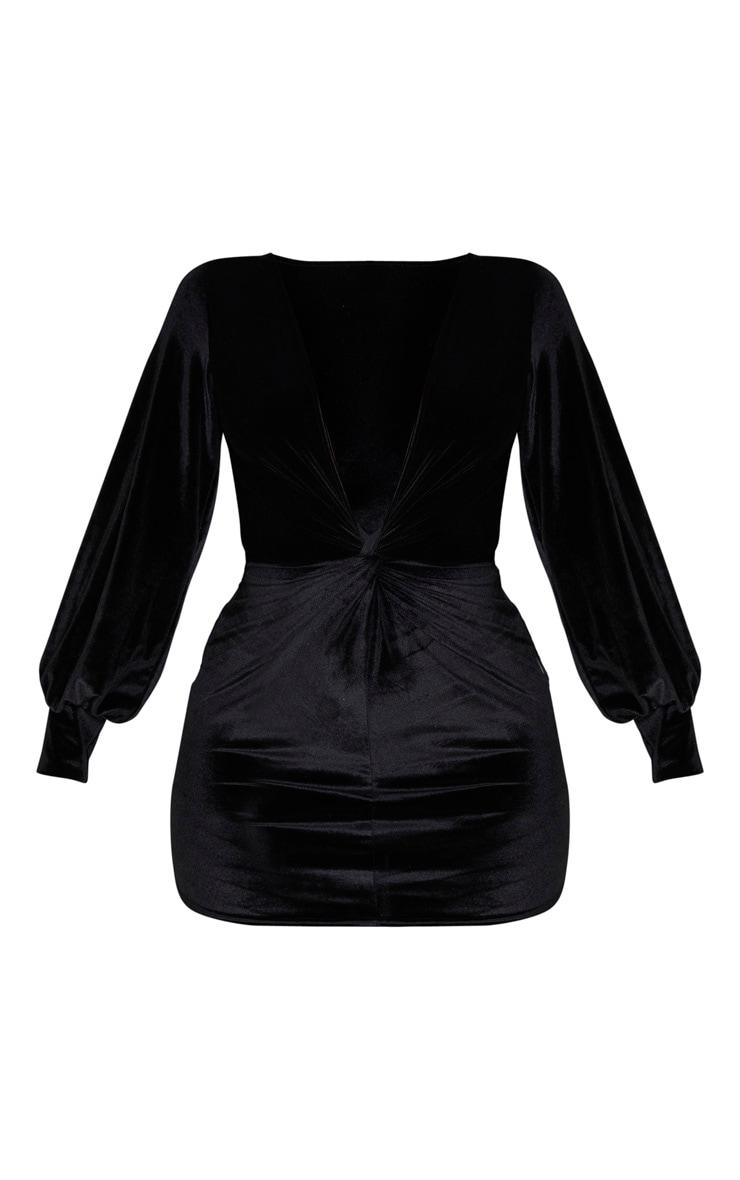 Black Velvet Long Sleeve Plunge Knot Detail Bodycon Dress 3
