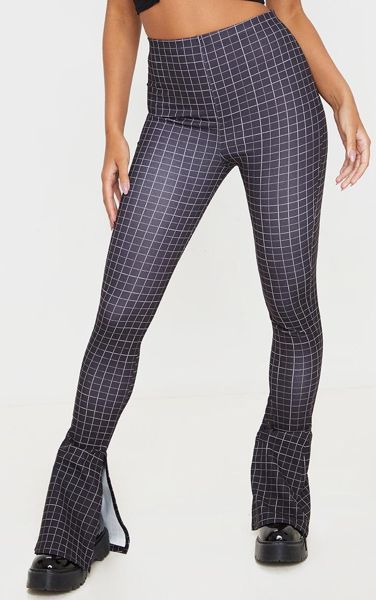 Pantalon flare noir fendu à carreaux 2