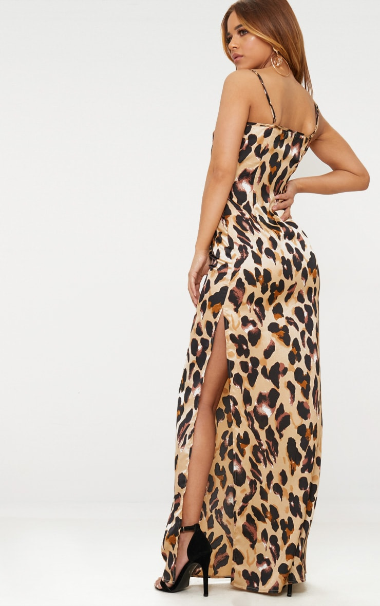 Petite Brown Leopard Print Cowl Maxi Dress 2
