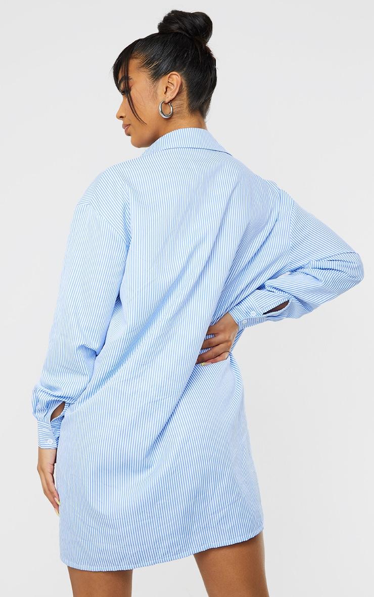 Blue Stripe Yoke Detail Button Up Oversized Shirt Dress 2