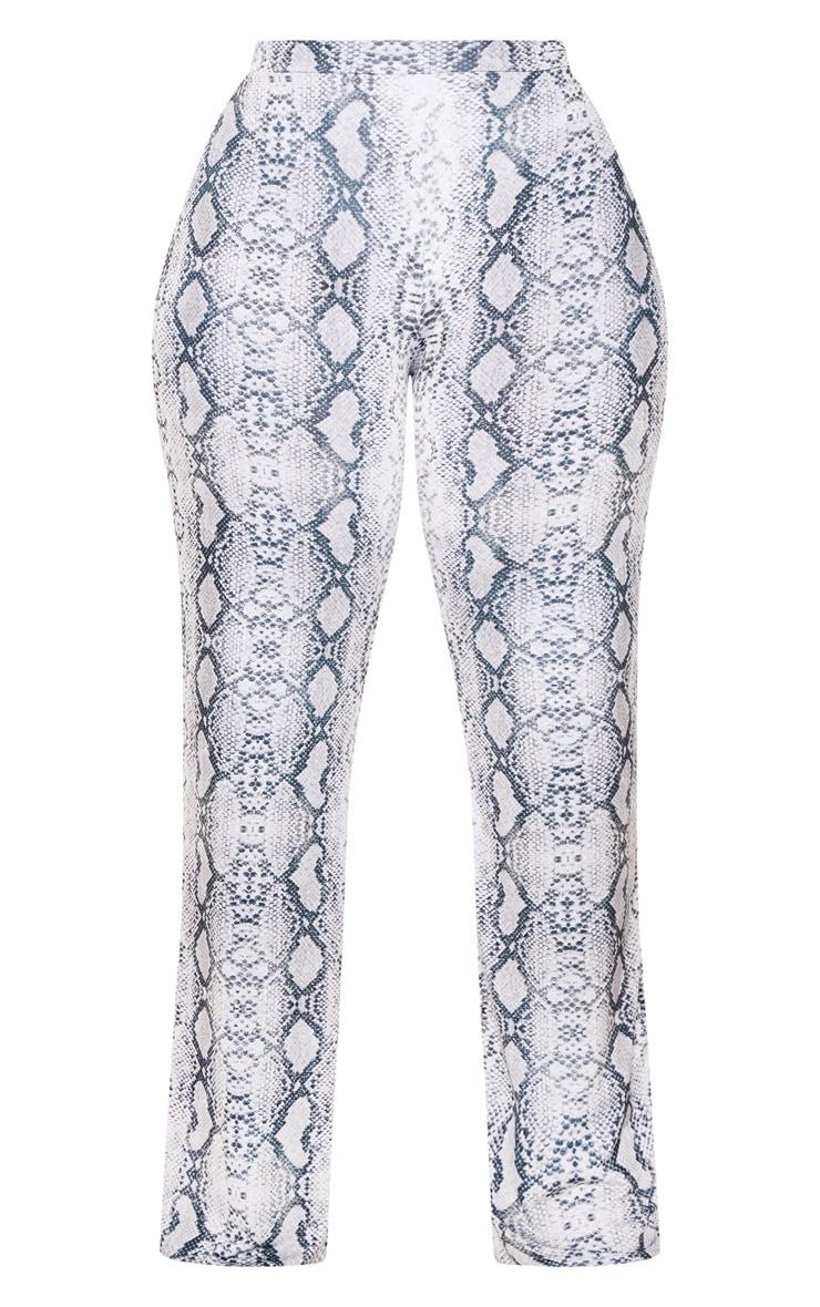 Plus Grey Snake Print Wide Leg Trousers 3