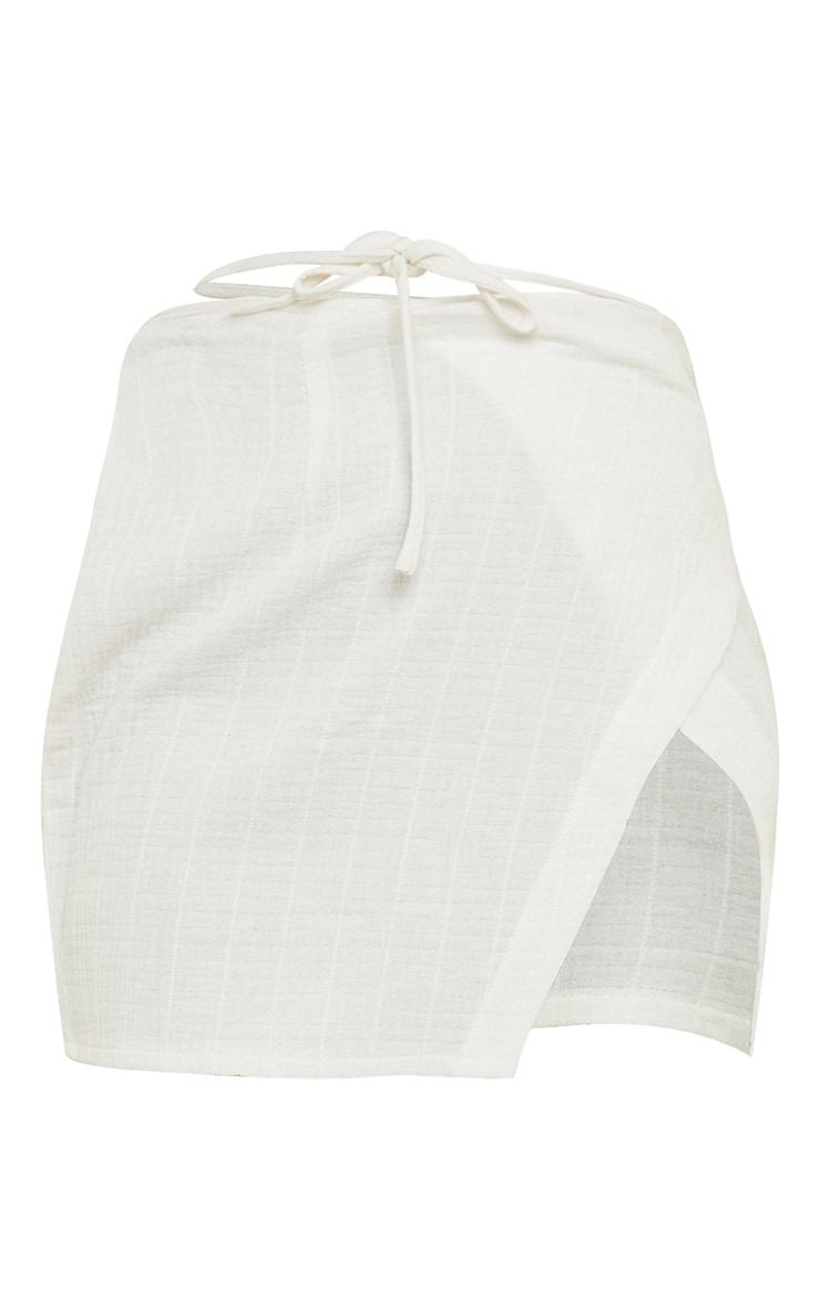 Mini-jupe portefeuille en maille gaufrée blanche 7