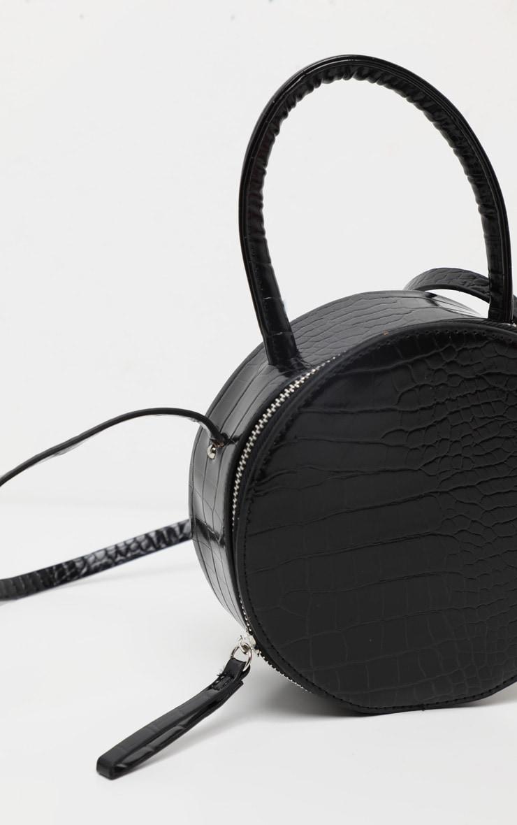 Black Croc Round Cross Body Bag 3