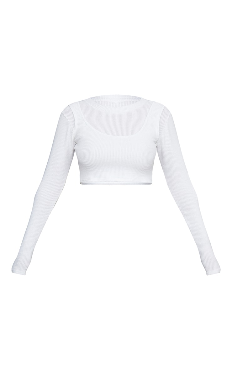 Cream Brushed Rib Overlay Long Sleeve Crop Top 5