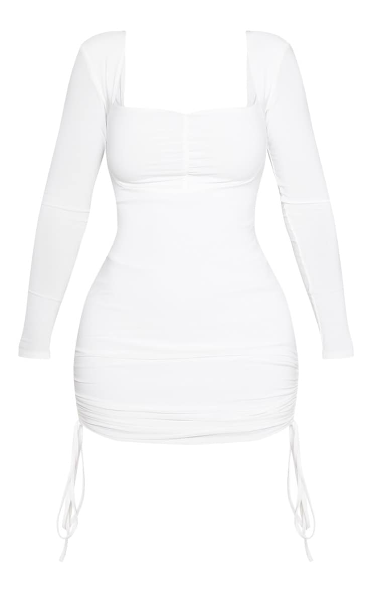 Shape Cream Ruched Detail Long Sleeve Bodycon Dress 3
