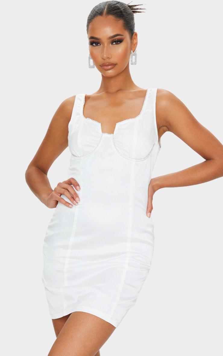 White Diamante Cup Detail Sleeveless Bodycon Dress 1