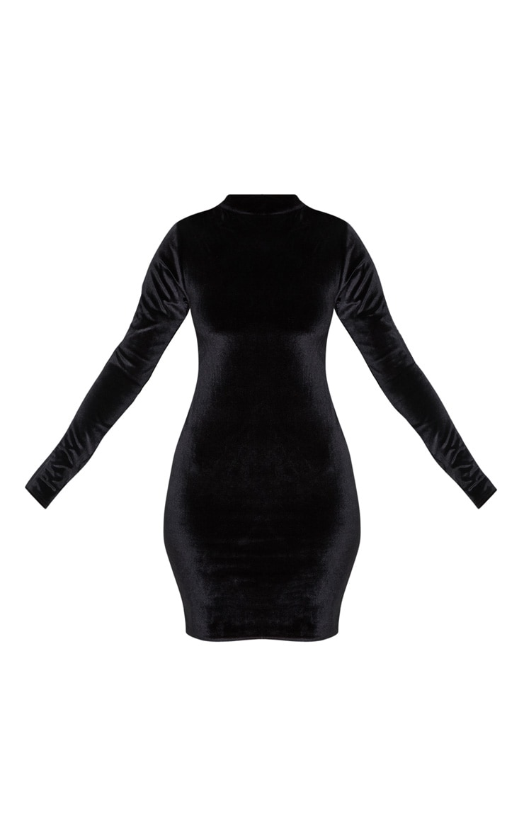 Black Velvet Ruched Long Sleeve Bodycon Dress 3