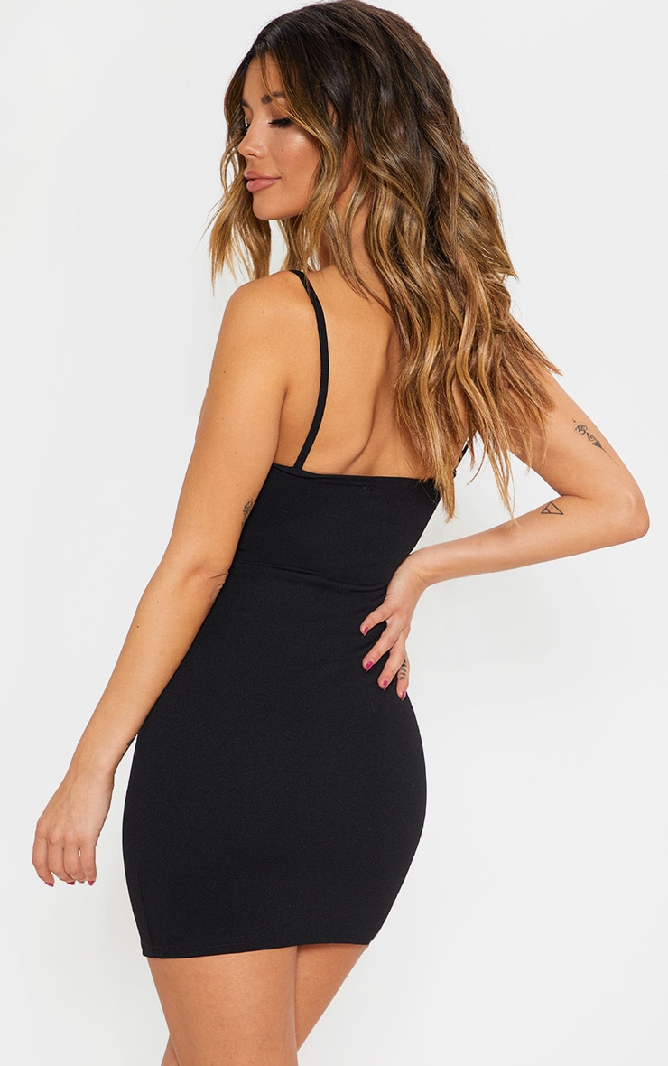 Black Strappy Faux Leather Panelled Dress 2