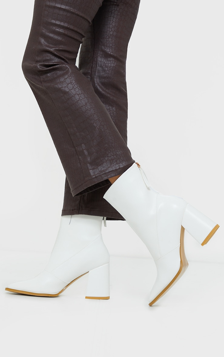 White Square Toe Panel Flare Low Block Heel Ankle Boots 2