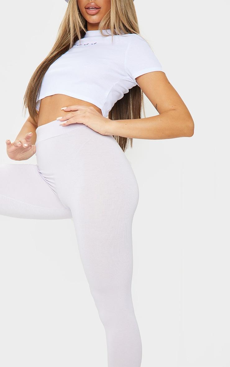 Lilac Basic High Waisted Jersey Leggings 4