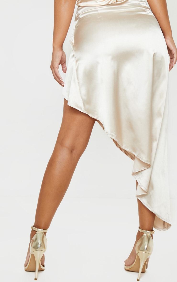 Petite Cream Satin Asymmetric Skirt 4
