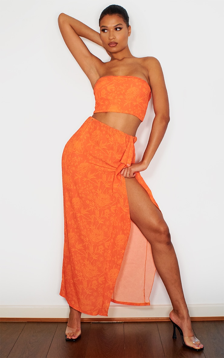 Bright Orange Crepe Zip Back Bandeau Top 3