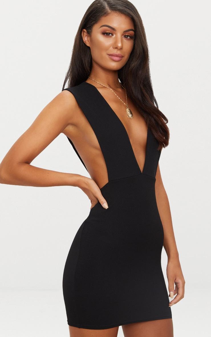 Black Extreme Plunge Strap Bodycon Dress 2