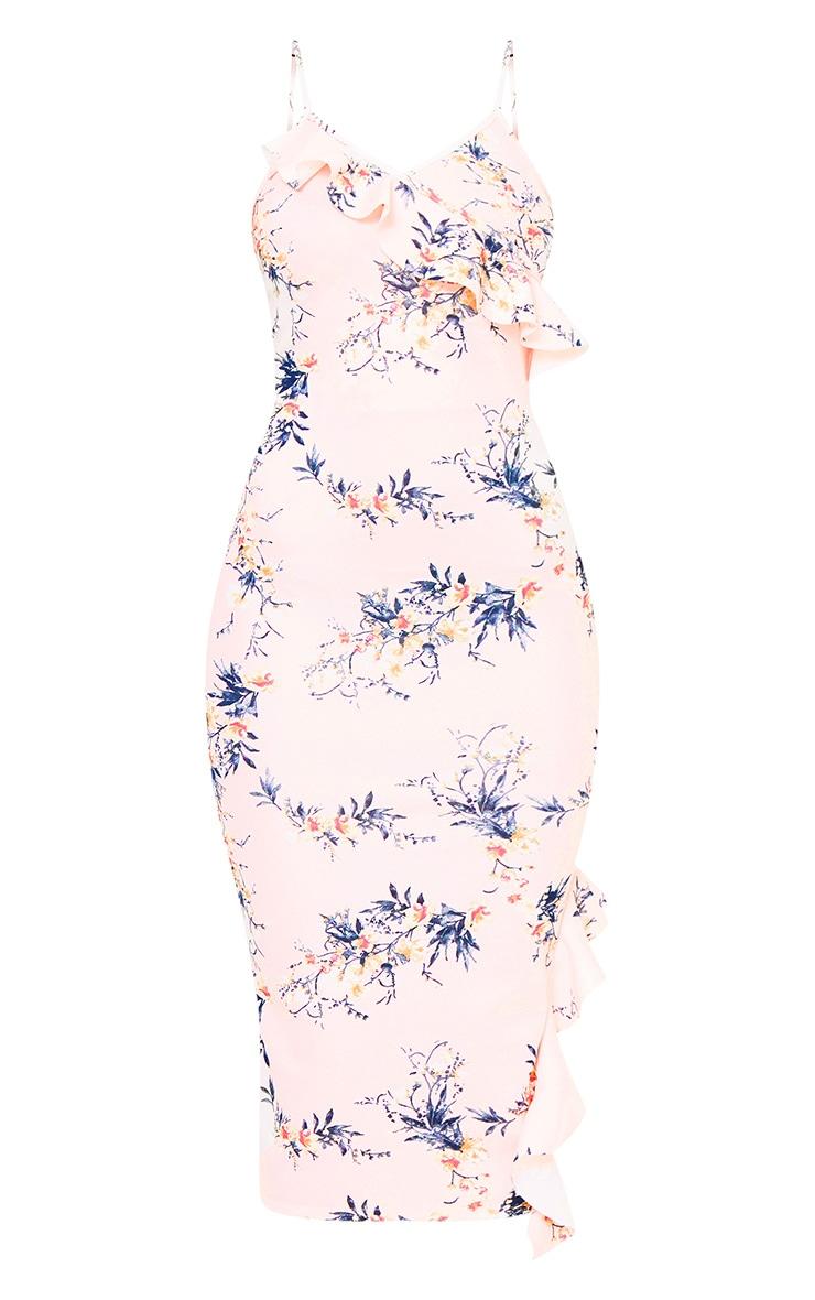 Nude Floral Frill Detail Midi Dress 3