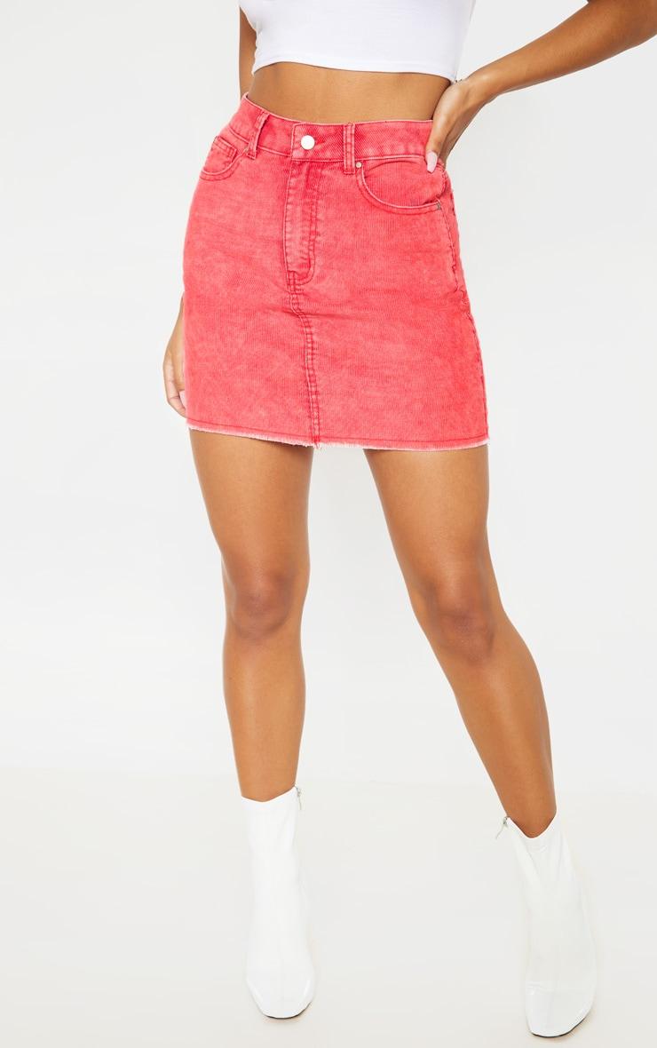 Washed Red Cord Denim Mini Skirt  2