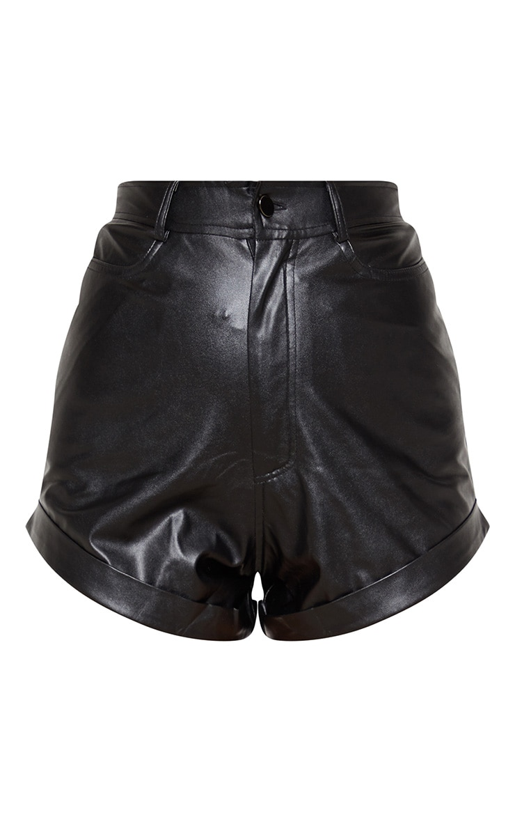 Black Faux Leather Turn Up Hem Short 4