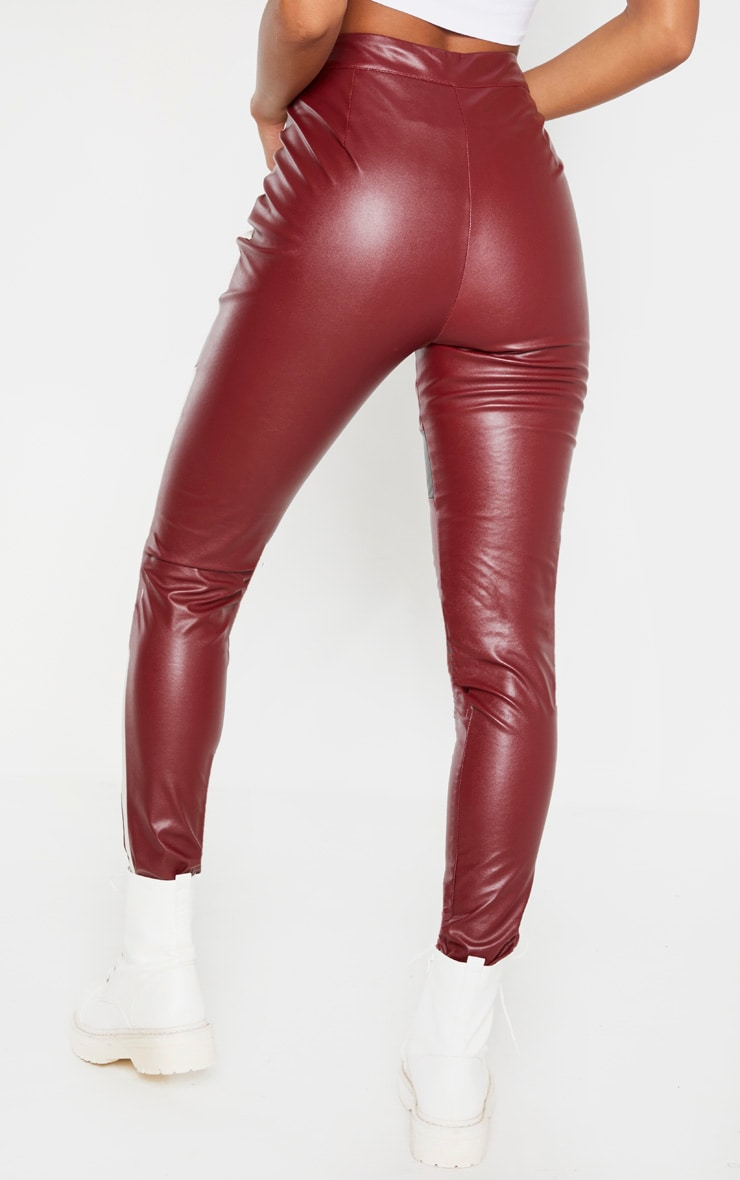 Burgundy Faux Leather Contrast Panel Skinny Trouser 4