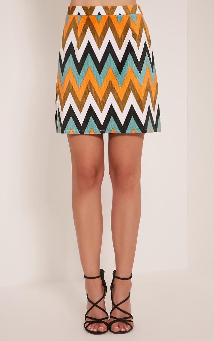 Annetta Turquoise Chevron Cord Mini Skirt 2