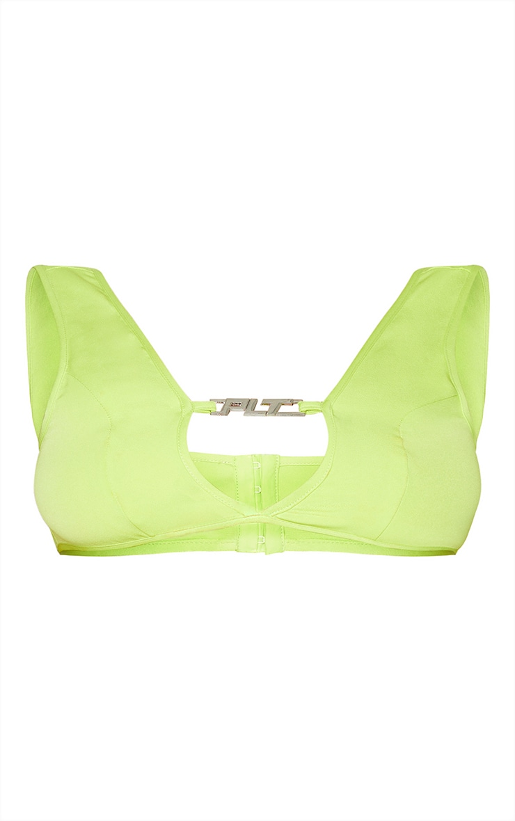PRETTYLITTLETHING Lime Metal Badge Detail Woven Crop Top 5