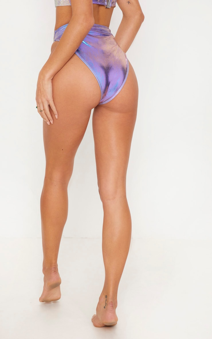 Premium Lilac Diamante High Leg Pool Party Bottom 5