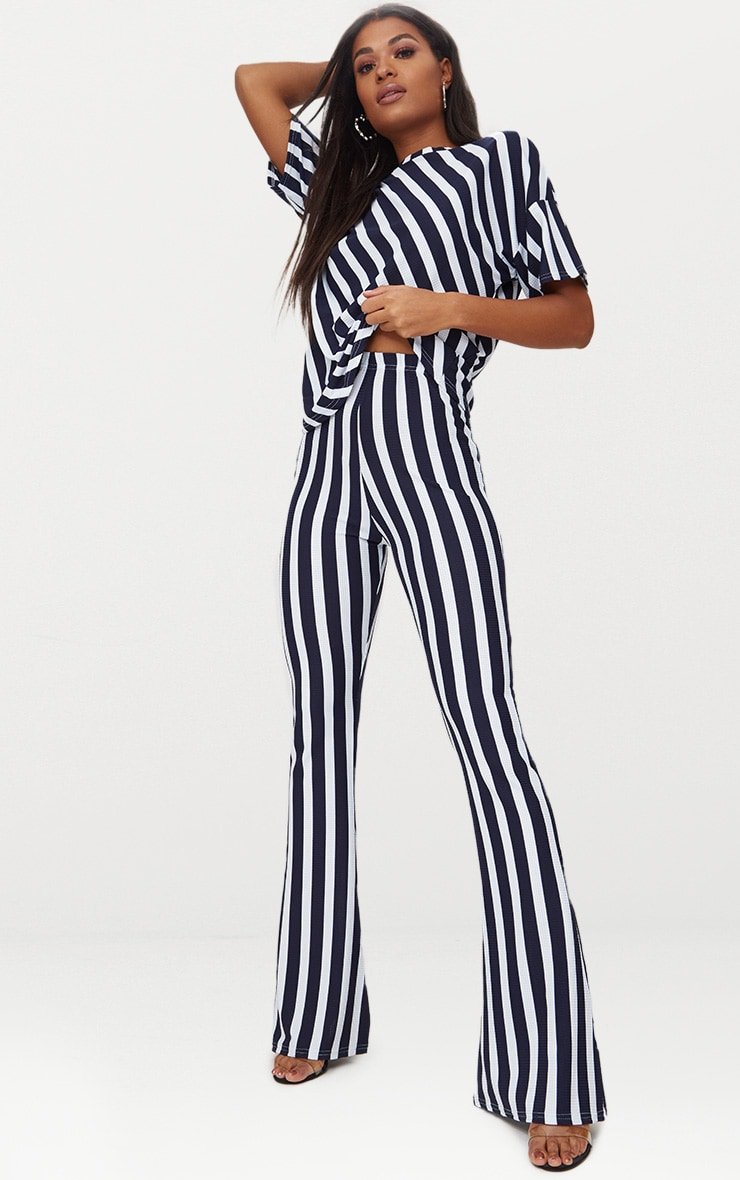Navy Vertical Stripe Flare Trouser  1