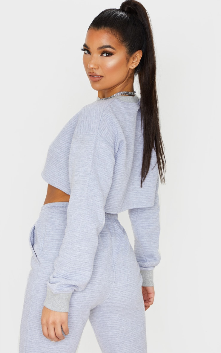 Grey Jumbo Rib Long Sleeve Crop Sweater 1