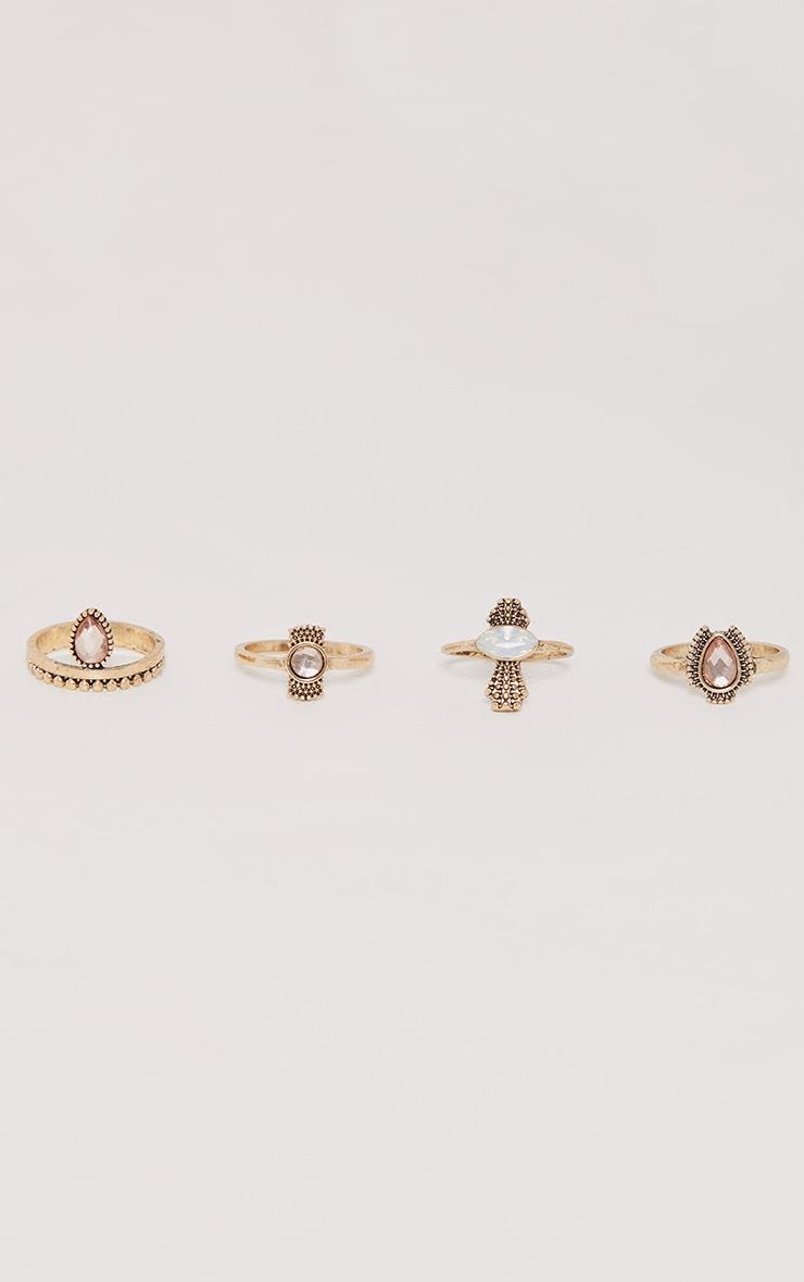 Multi Set Gold Pink Stone Rings  1