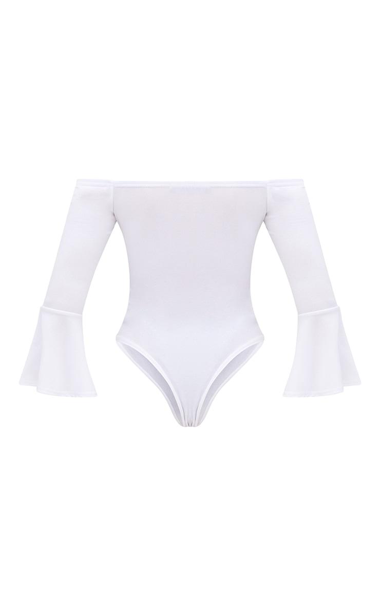 Petite White Flare Hem Sleeve Bodysuit 4
