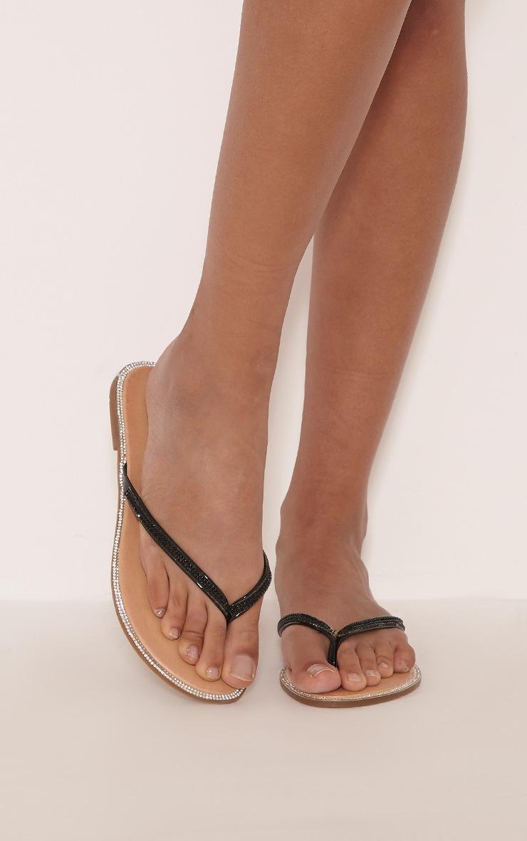 Ashlea Black Diamante Flip Flops 2