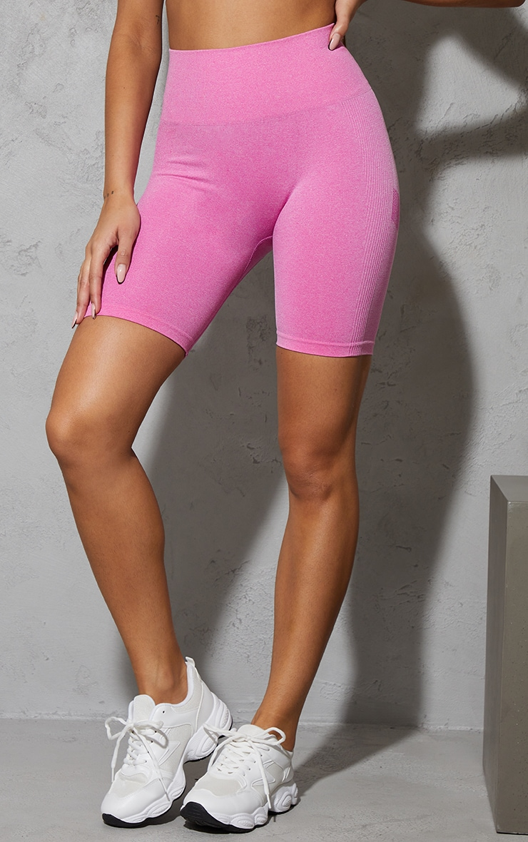 Pink Seamless Ruched Bum Cycle Shorts 2