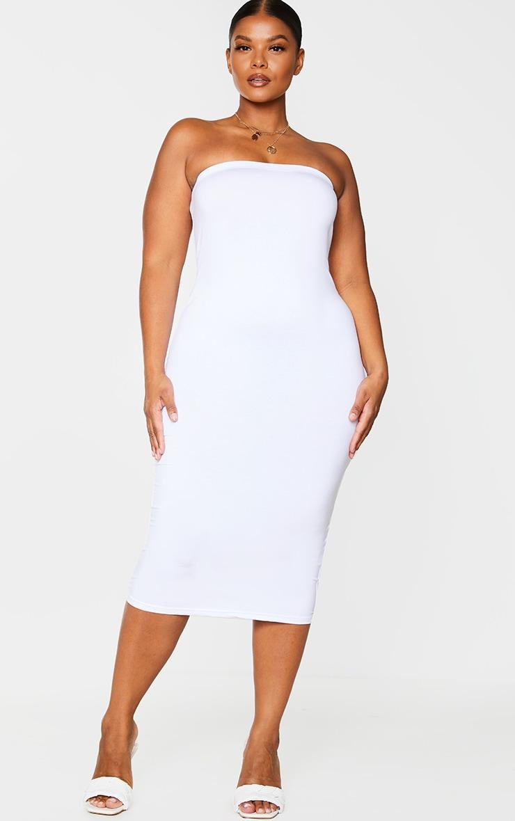 PLT Plus - Robe bandeau longue en jersey blanc 3