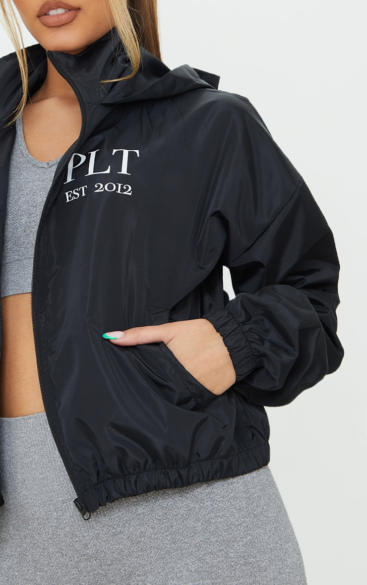 PRETTYLITTLETHING Black Hooded Oversized Shell Jacket 4