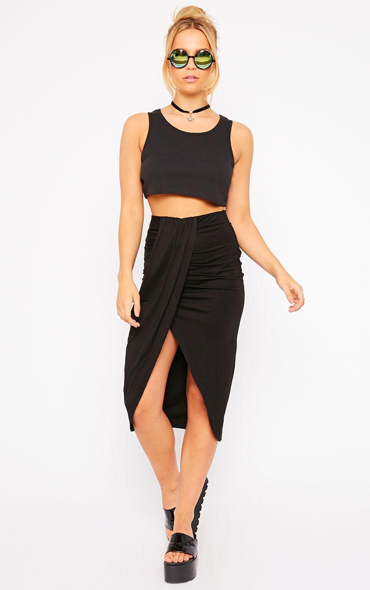 Ivana Black Drape Midi Skirt 1