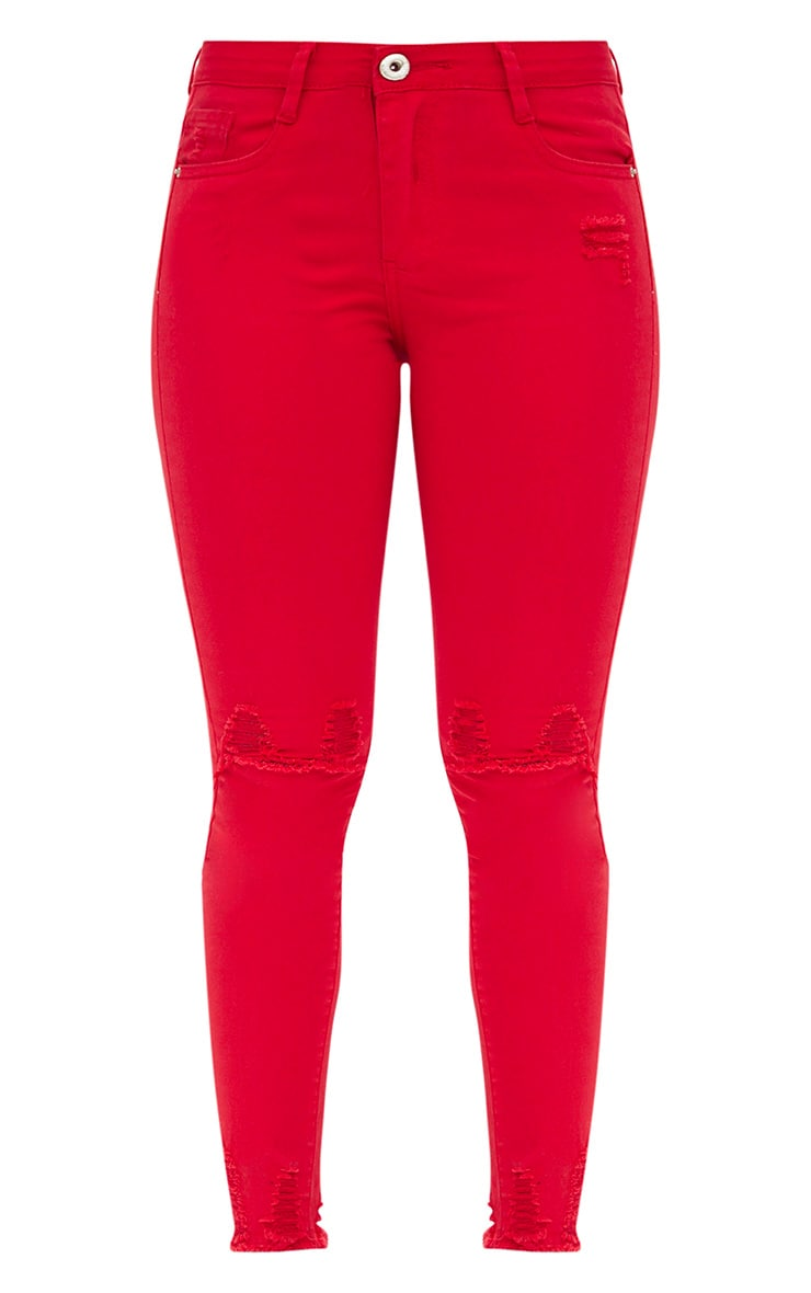 Red Low Rise Distressed Rip Skinny Jean  3