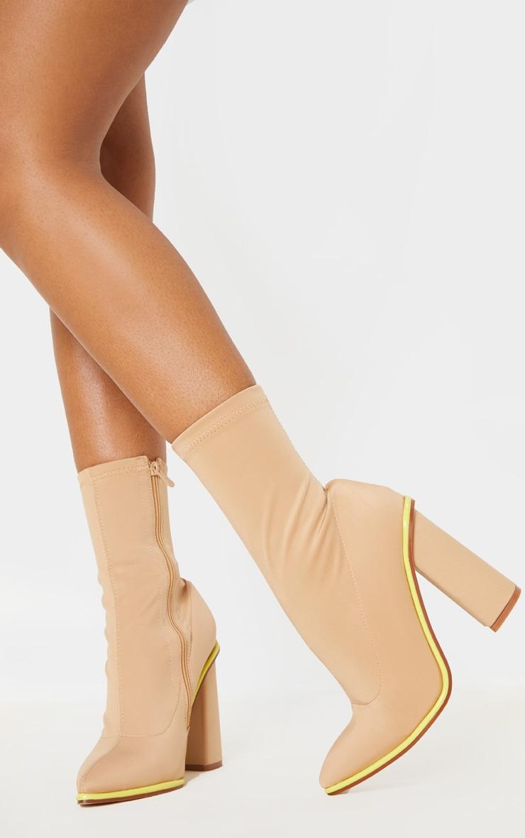Neon Contrast Trim Block Heel Sock Boot 2