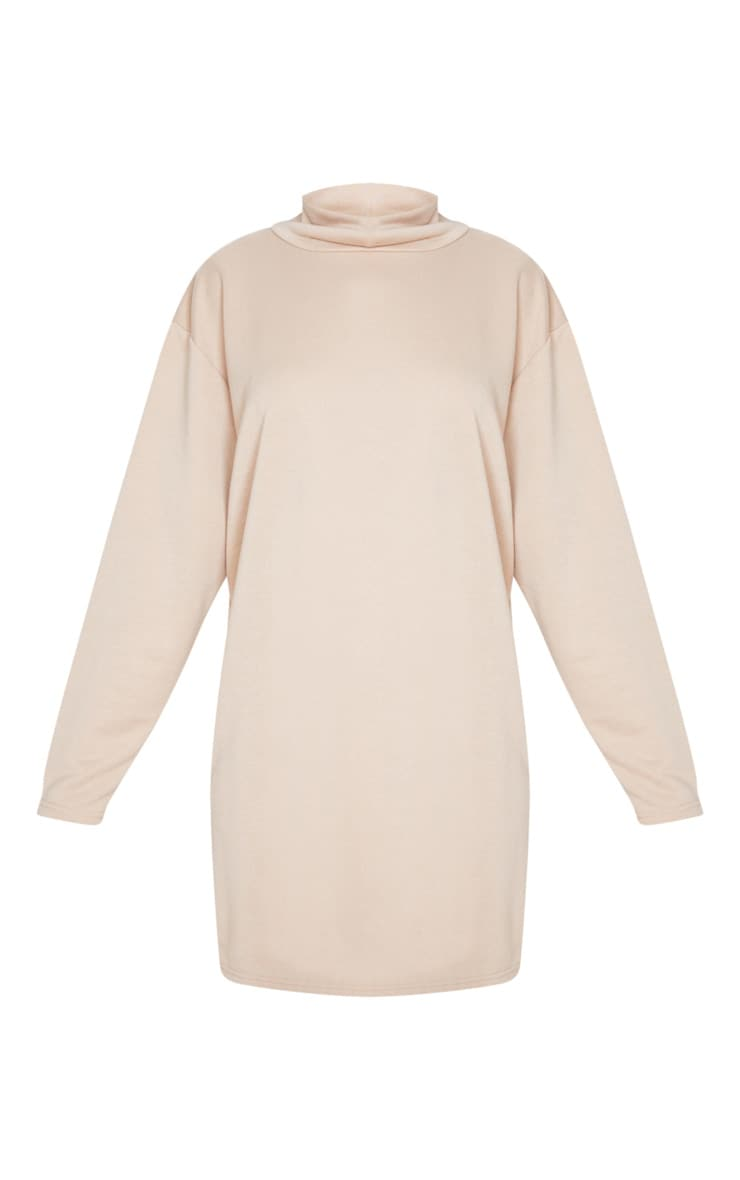 Camel Roll Neck Long Sleeve Oversized Sweater Dress 3