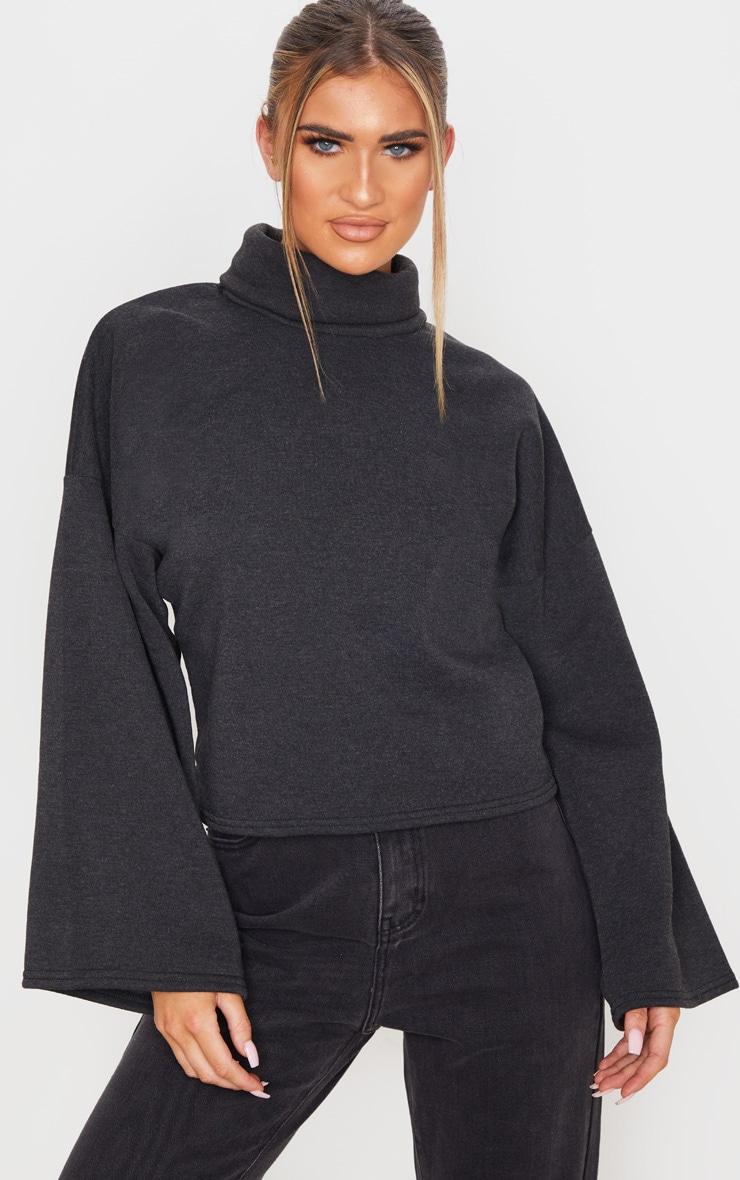 Charcoal Grey Fleece Roll Neck Sweater 1