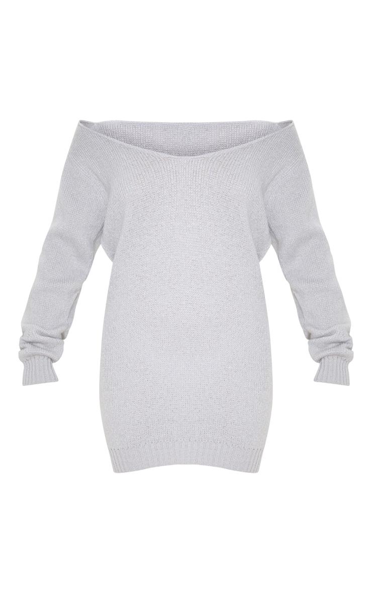 Light Grey Soft Knitted Off Shoulder Mini Dress 3