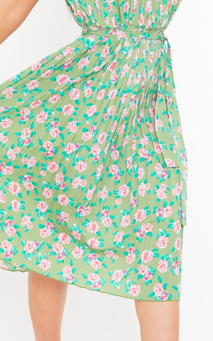 Green Floral Print Pleated Sleeveless Midi Dress 4