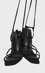 Black Wide Fit Toe Loop Ankle Tie Chunky Block Heel Sandals 4