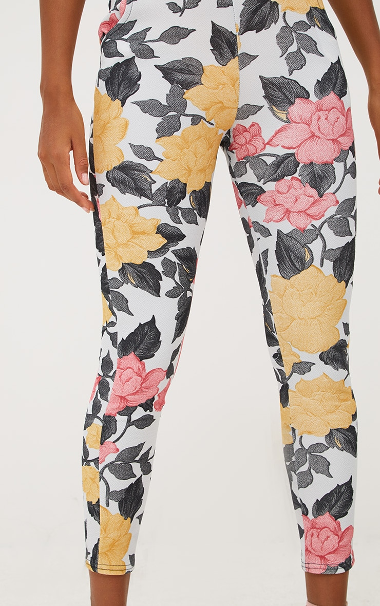 Grey Large Floral Skinny Trousers 5